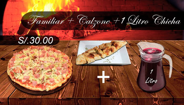 Pizza Familiar Calzone Bebida